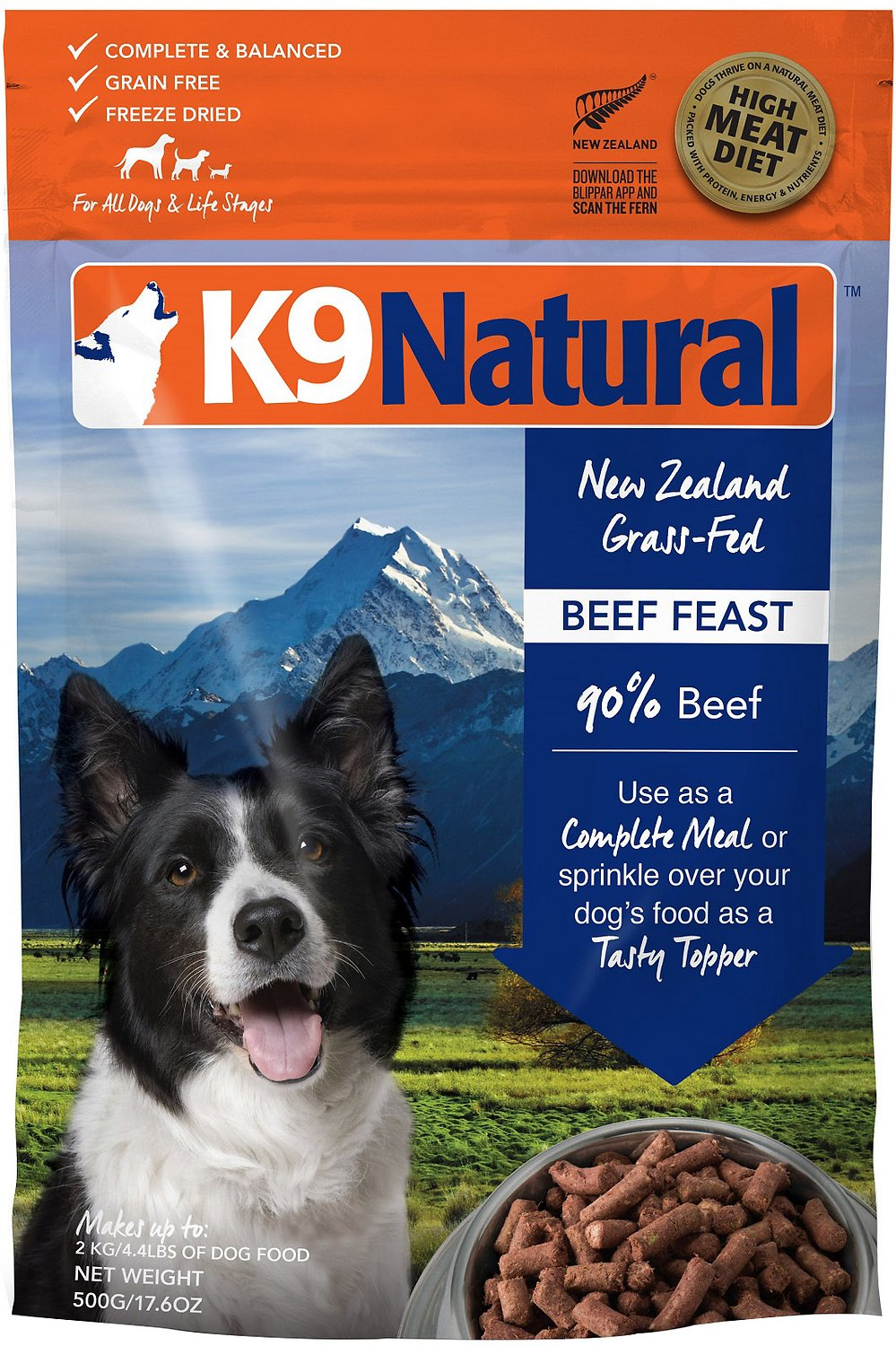 K9 Natural Beef Feast Grain-Free Freeze-Dried Dog Food, 1.1-lb