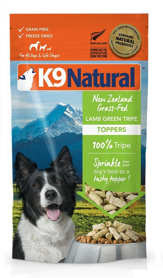 K9 Natural Lamb Green Tripe Grain-Free Freeze-Dried Dog Food Topper, 2-oz bag