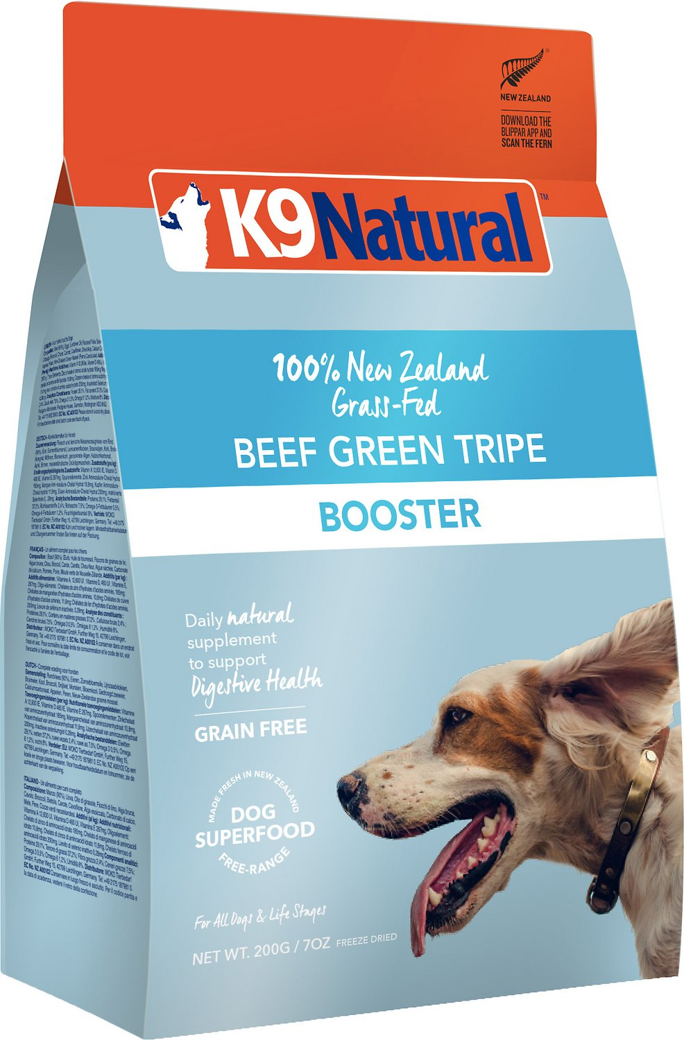 K9 Natural Booster Beef Green Tripe Grain-Free Freeze-Dried Dog Supplement, 8.8-oz bag