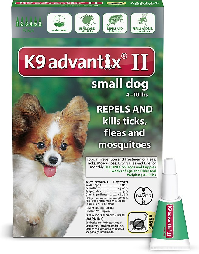 Bayer K9 Advantix II Flea & Tick Treatment for Small Dogs up to 4-10 lbs, 2-Pack
