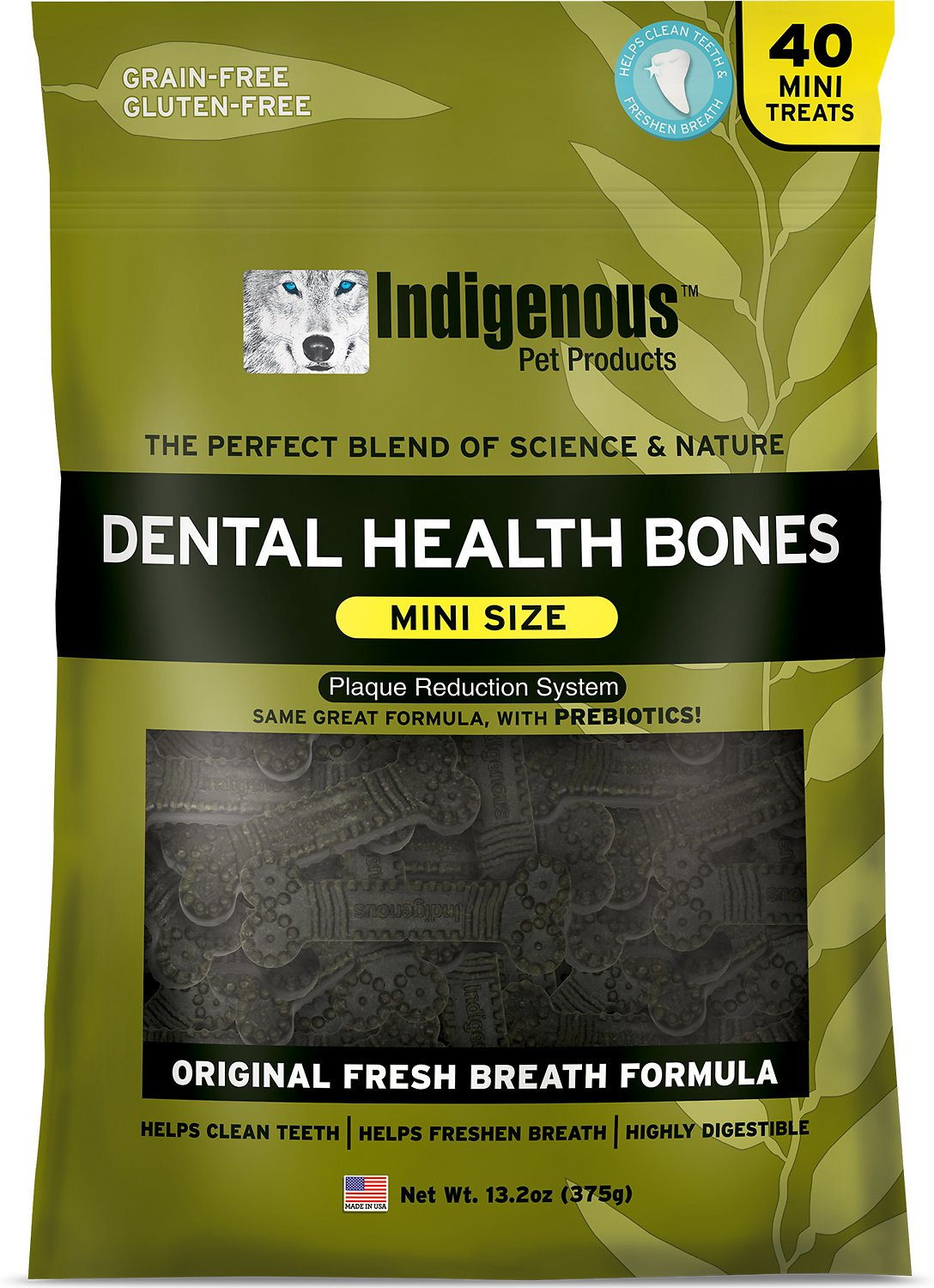 Indigenous Pet Products Mini Fresh Breath Formula Dental Dog Bones, 13.2-oz bag