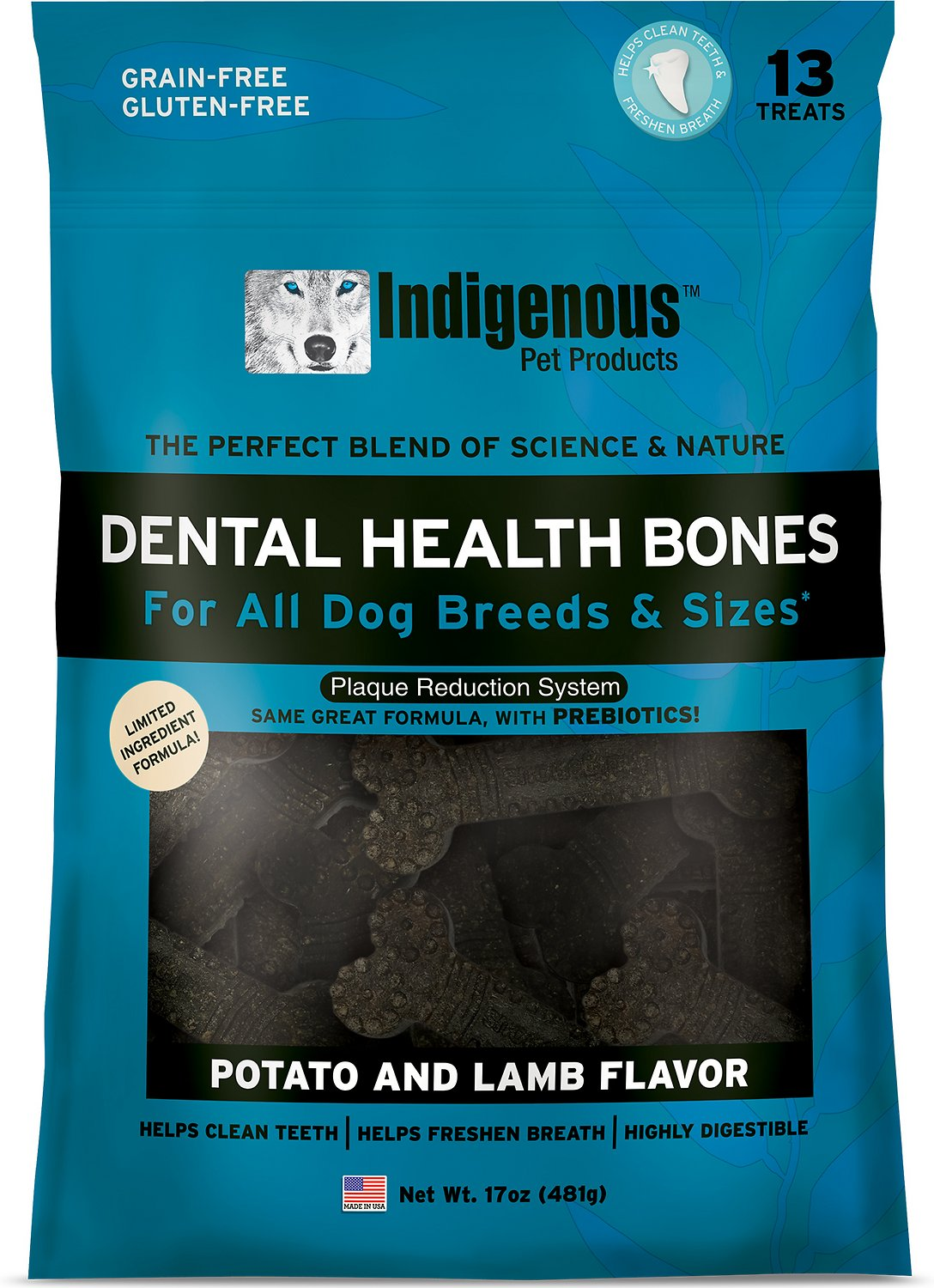 Indigenous Pet Products Potato & Lamb Dental Dog Bones, 13 count
