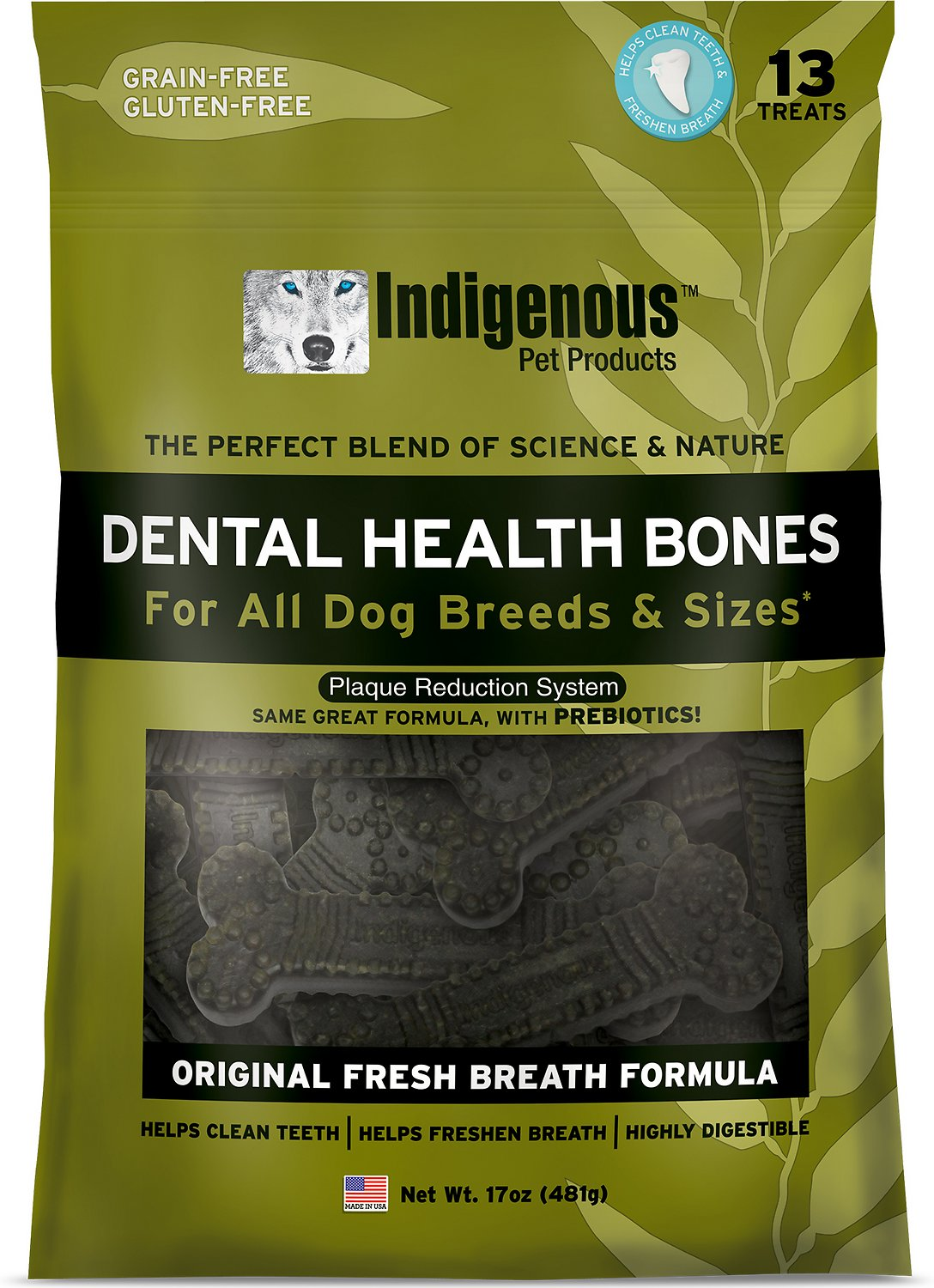 Indigenous Pet Products Fresh Breath Formula Dental Dog Bones, 13 count
