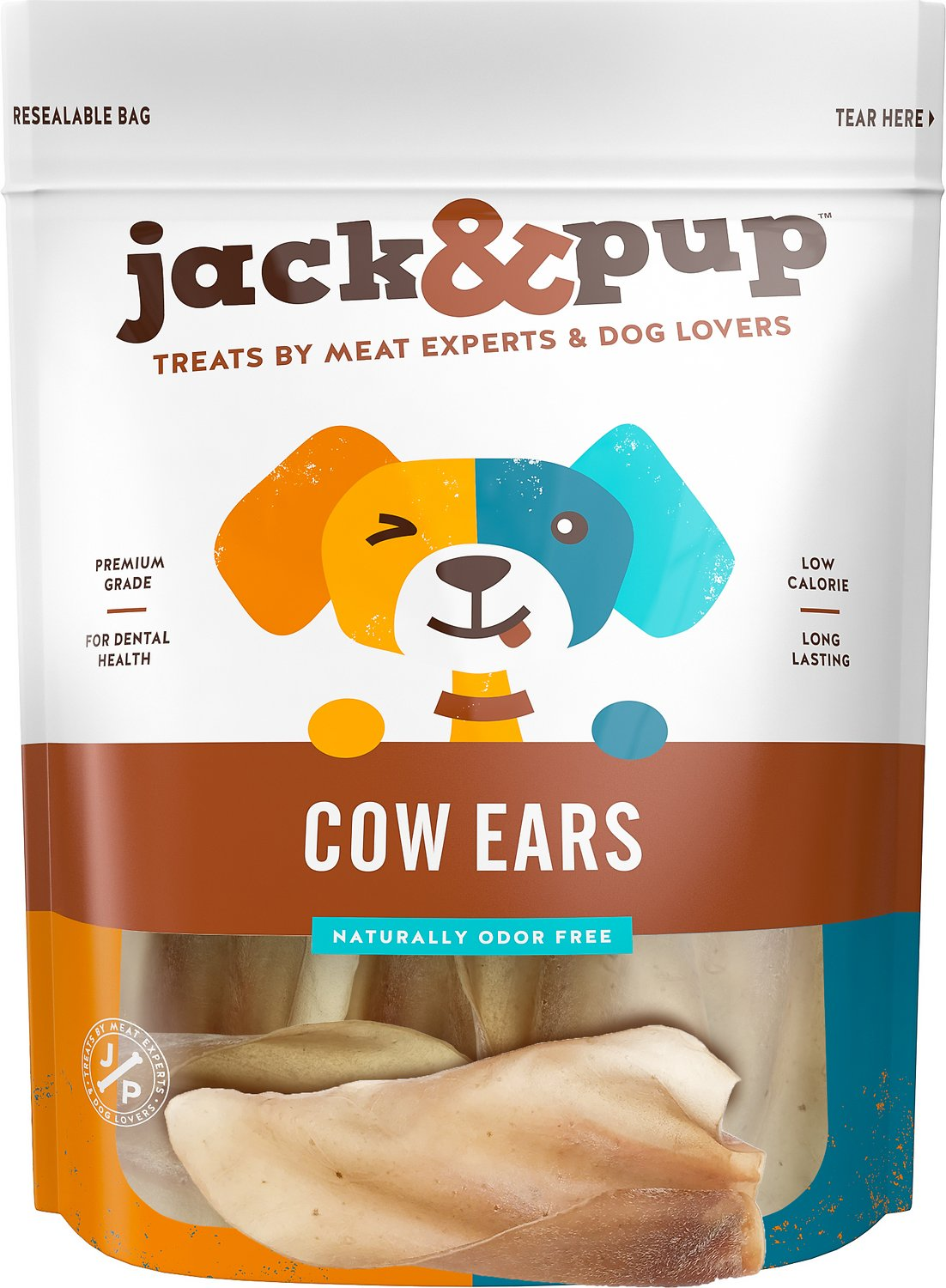 Jack&Pup Cow Ear Dog Treats, 15 count