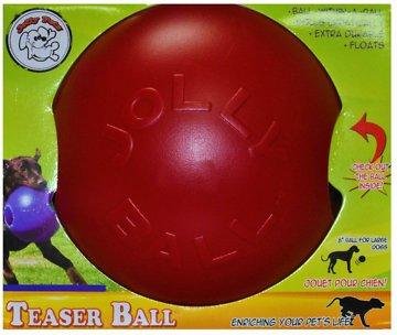 Jolly Pets Teaser Ball Dog Toy, Red
