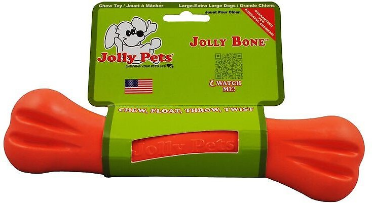 Jolly Pets Jolly Bone Dog Toy, Orange, 9-in