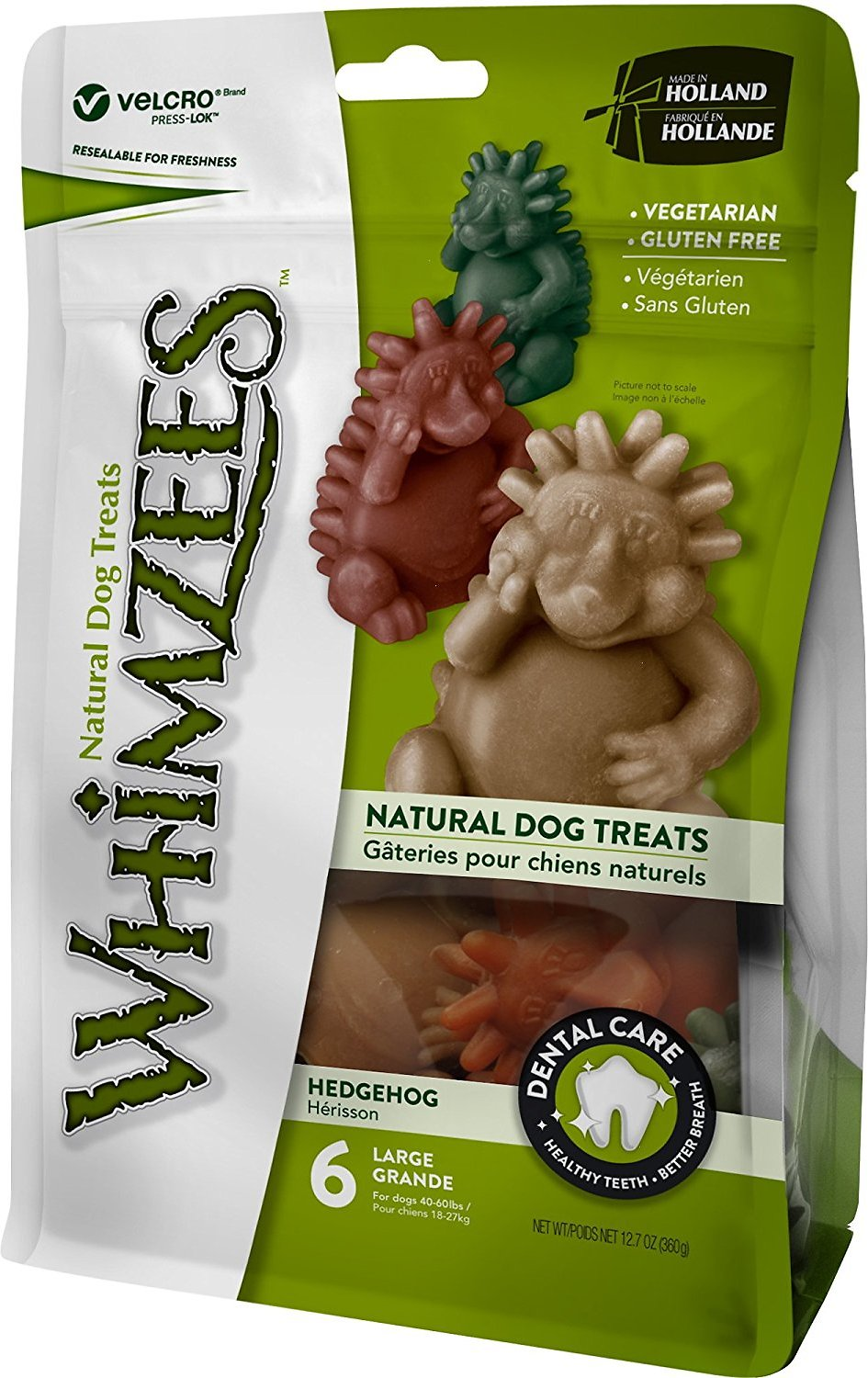 WHIMZEES Hedgehog Dental Dog Treats, Large, 6 count
