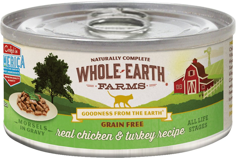 Whole Earth Farms Grain-Free Real Chicken & Turkey Morsels in Gravy Canned Cat Food, 5-oz
