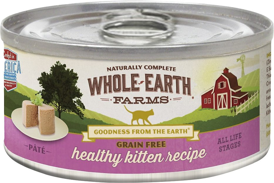 Whole Earth Farms Grain-Free Healthy Kitten Pate Recipe Canned Cat Food, 2.75-oz
