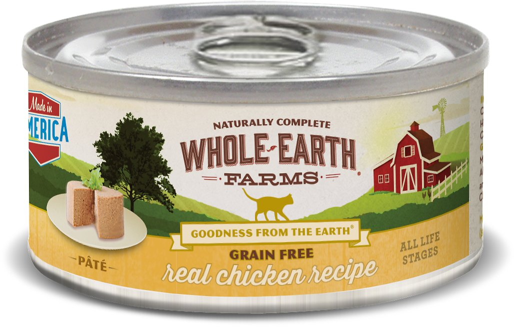 Whole Earth Farms Grain-Free Real Chicken Pate Recipe Canned Cat Food, 5-oz