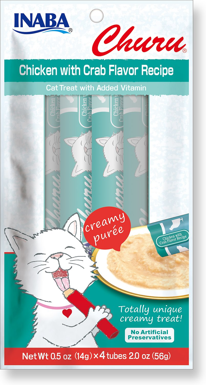 Inaba Churu Grain-Free Chicken with Crab Flavor Puree Lickable Cat Treat