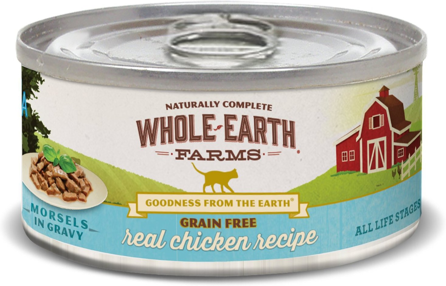 Whole Earth Farms Grain-Free Morsels in Gravy Chicken Recipe Canned Cat Food, 5-oz