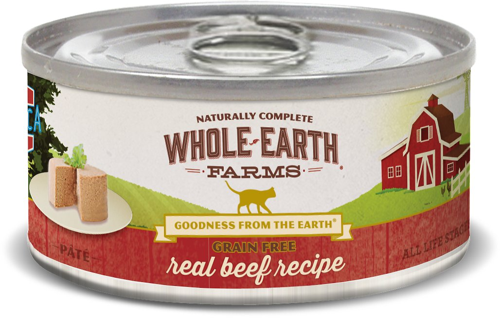 Whole Earth Farms Grain-Free Real Beef Pate Recipe Canned Cat Food, 5-oz