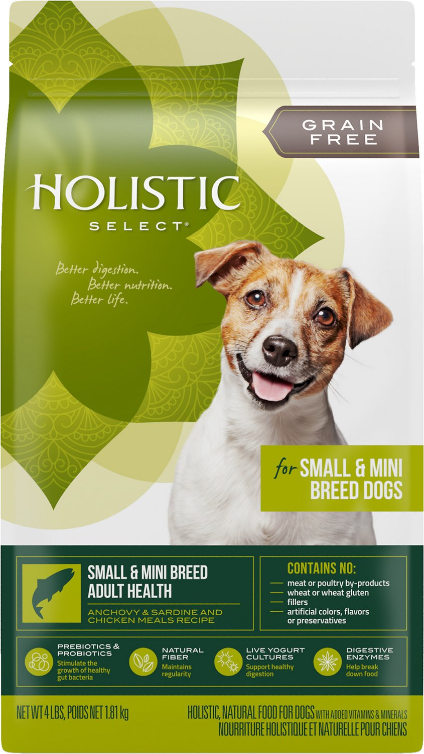 Holistic Select Small & Mini Breed Adult Health Anchovy, Sardine & Chicken Meals Recipe Dry Dog Food, 4-lb bag