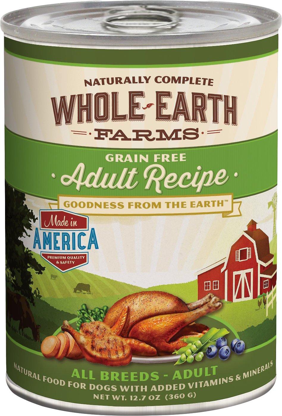 Whole Earth Farms Grain-Free Adult Recipe Canned Dog Food, 12.7-oz