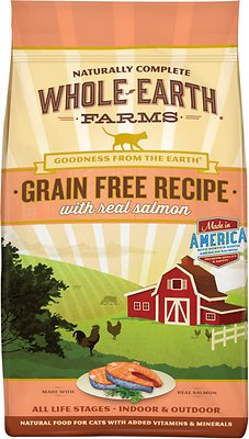 Whole Earth Farms Grain-Free Real Salmon Recipe Dry Cat Food, 10-lb bag