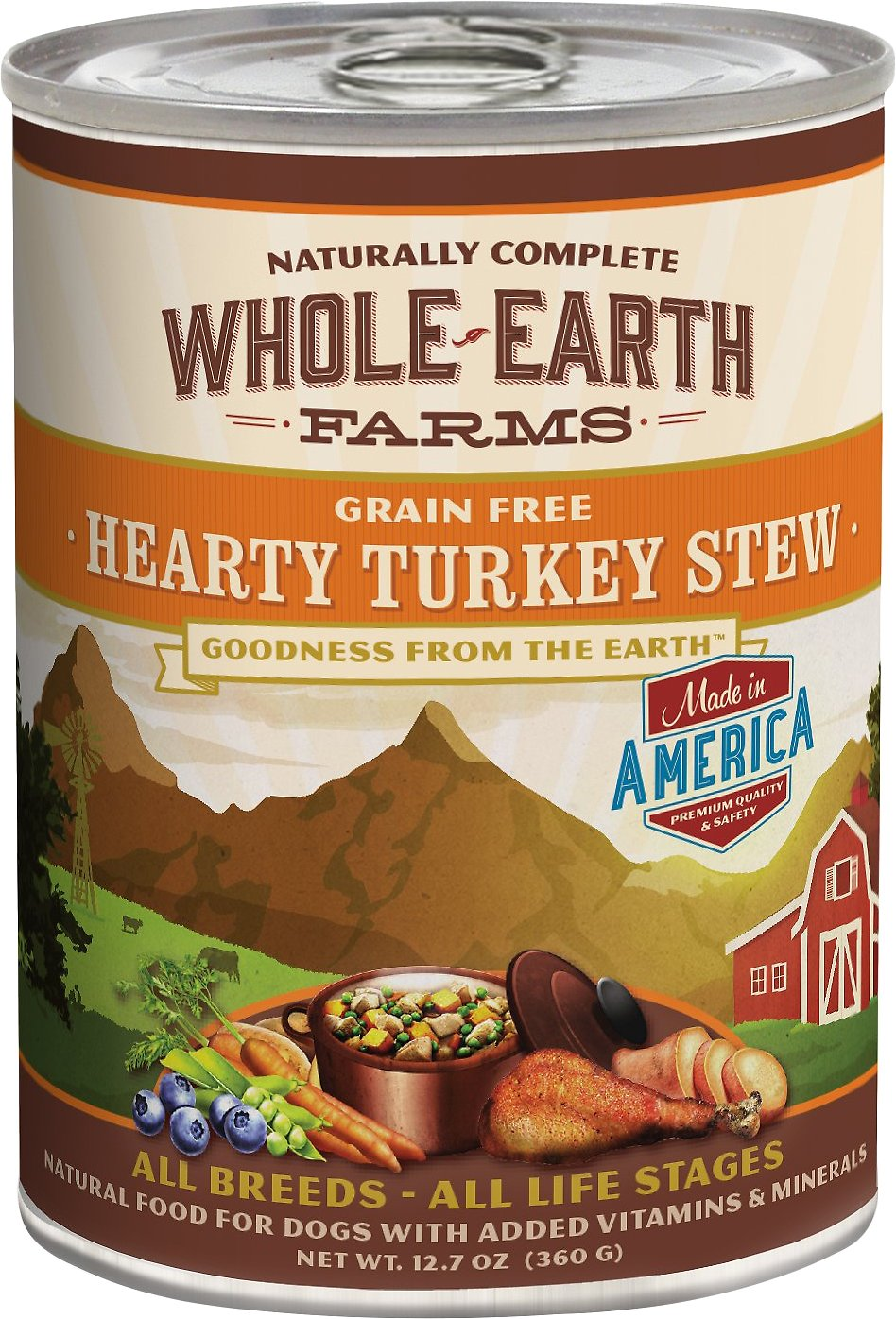 Whole Earth Farms Grain-Free Hearty Turkey Stew Canned Dog Food, 12.7-oz