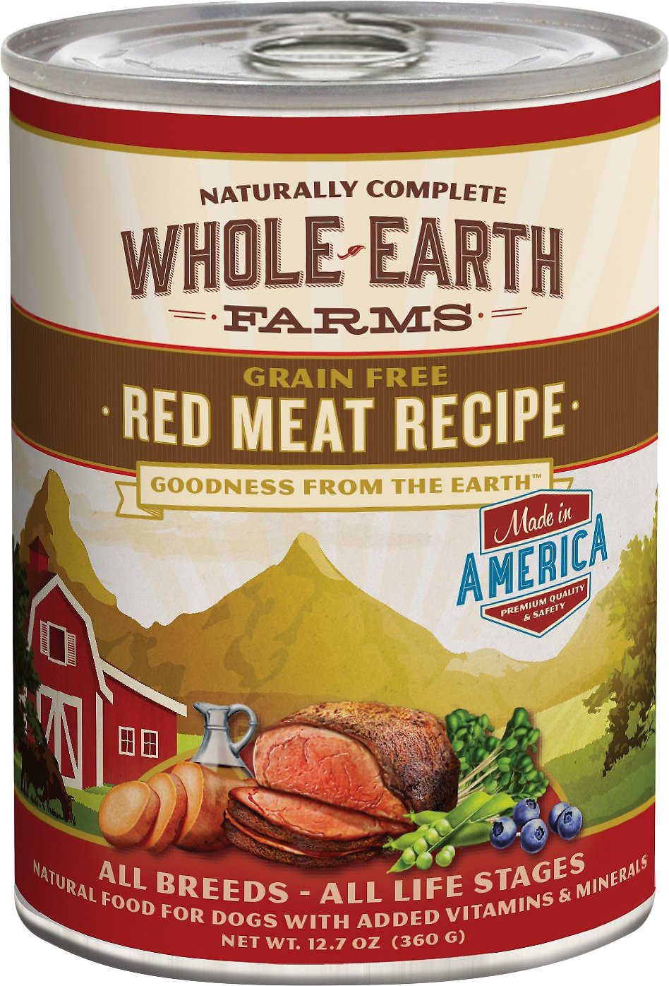Whole Earth Farms Grain-Free Red Meat Recipe Canned Dog Food, 12.7-oz