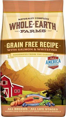 Whole Earth Farms Grain-Free Salmon & Whitefish Dry Dog Food, 4-lb bag