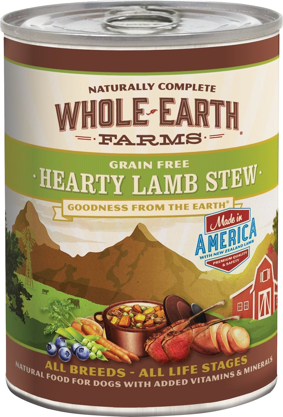 Whole Earth Farms Grain-Free Hearty Lamb Stew Canned Dog Food, 12.7-oz