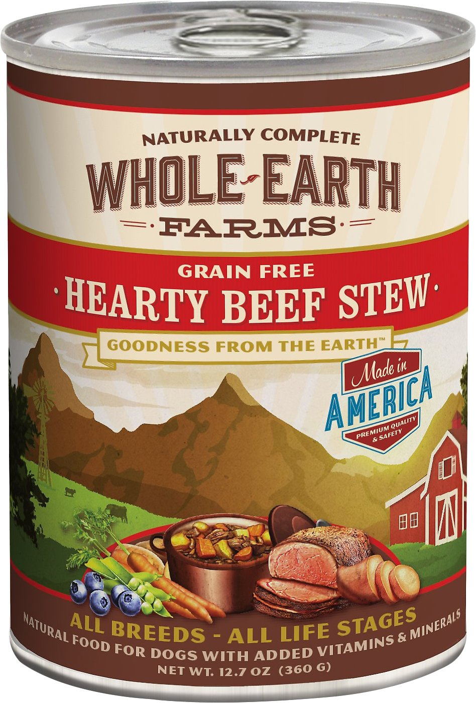 Whole Earth Farms Grain-Free Hearty Beef Stew Canned Dog Food, 12.7-oz