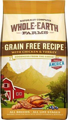Whole Earth Farms Grain-Free Chicken & Turkey Recipe Dry Dog Food, 4-lb bag