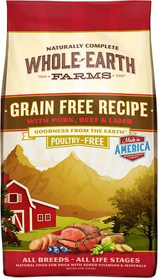 Whole Earth Farms Grain-Free Pork, Beef & Lamb Recipe Dry Dog Food, 4-lb bag