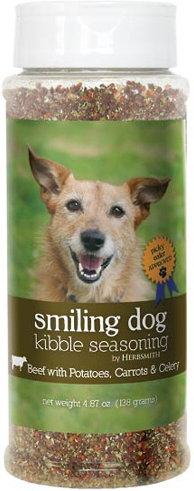 Herbsmith Smiling Dog Kibble Seasoning Beef with Potatoes, Carrots, & Celery Dog Food Topper, 4.87-oz bottle