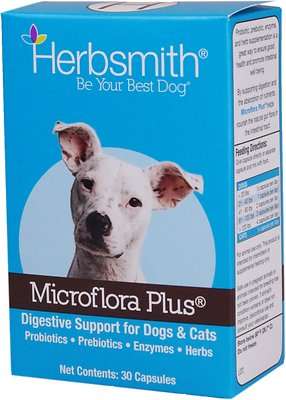 Herbsmith Microflora Plus for Digestion Capsules Daily Dog & Cat Supplement, 30-count