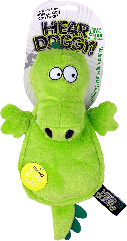 Hear Doggy Silent Squeaker Chew Guard Flattie Gator Dog Toy
