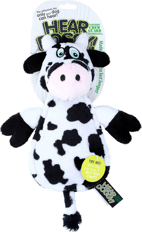 Hear Doggy Silent Squeaker Chew Guard Flattie Cow Dog Toy