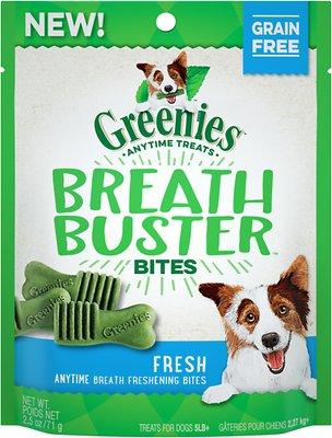 Greenies Breath Buster Bites Fresh Flavor Grain-Free Dental Dog Treats, 2.5-oz bag
