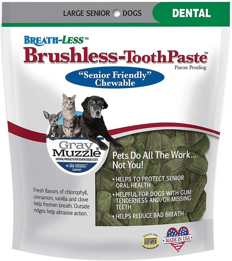Ark Naturals Gray Muzzle Breath-Less Brushless Toothpaste Large Senior Dog Chews, 7.8-oz bag