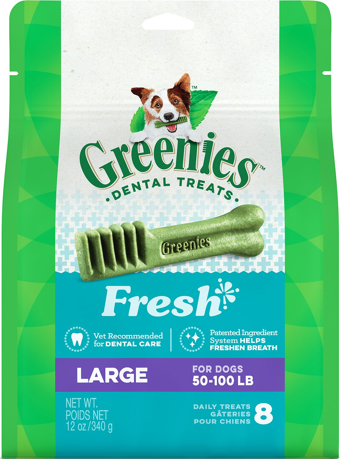 Greenies Fresh Large Dental Dog Treats, 8-count