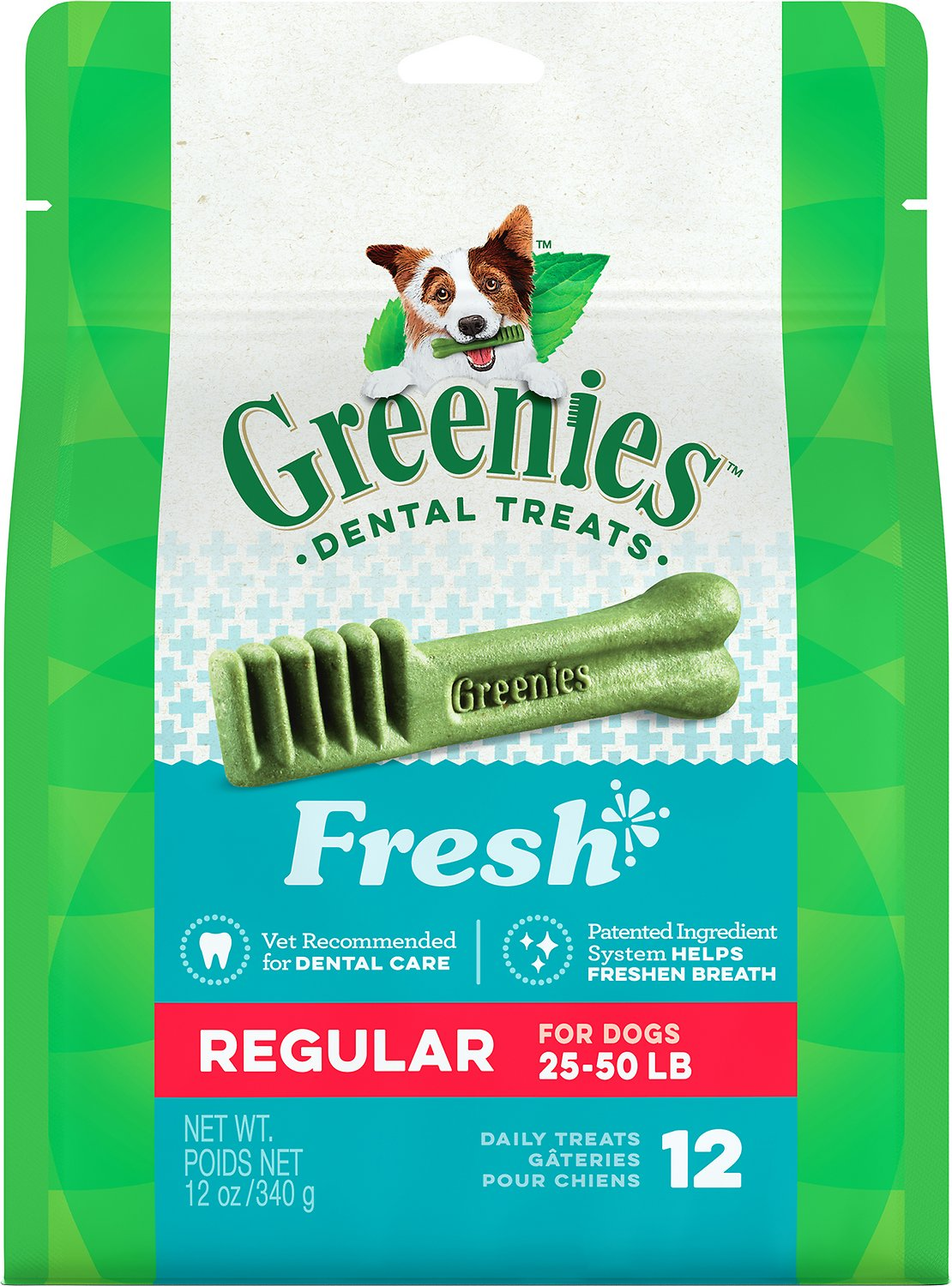 Greenies Fresh Regular Dental Dog Treats, 12-count