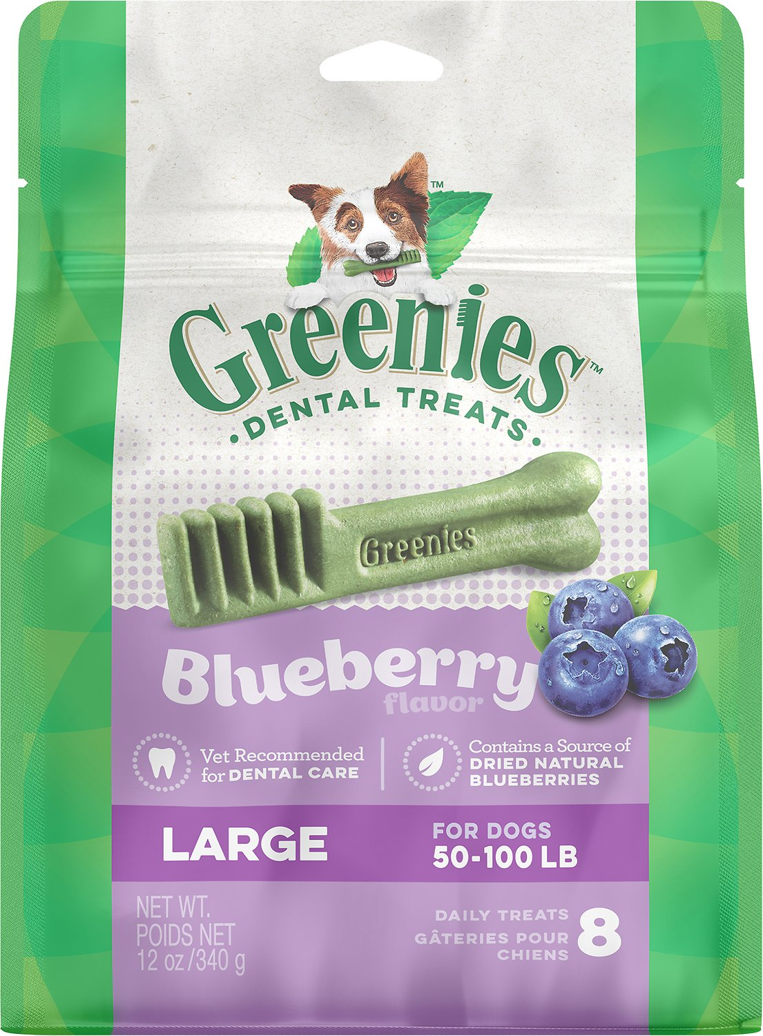 Greenies Bursting Blueberry Large Dental Dog Treats, 8-count