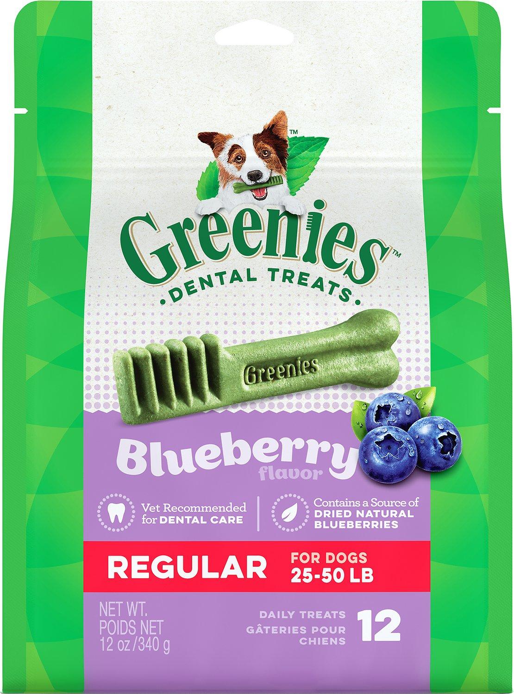 Greenies Bursting Blueberry Regular Dental Dog Treats, 12-count