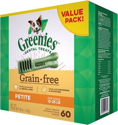 Greenies Grain-Free Petite Dental Dog Treats, 60-count