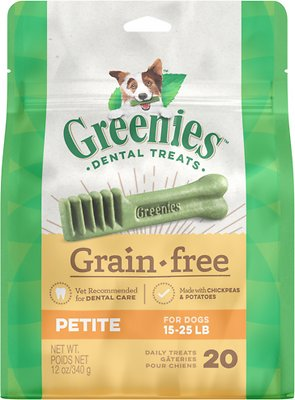 Greenies Grain-Free Petite Dental Dog Treats, 20-count