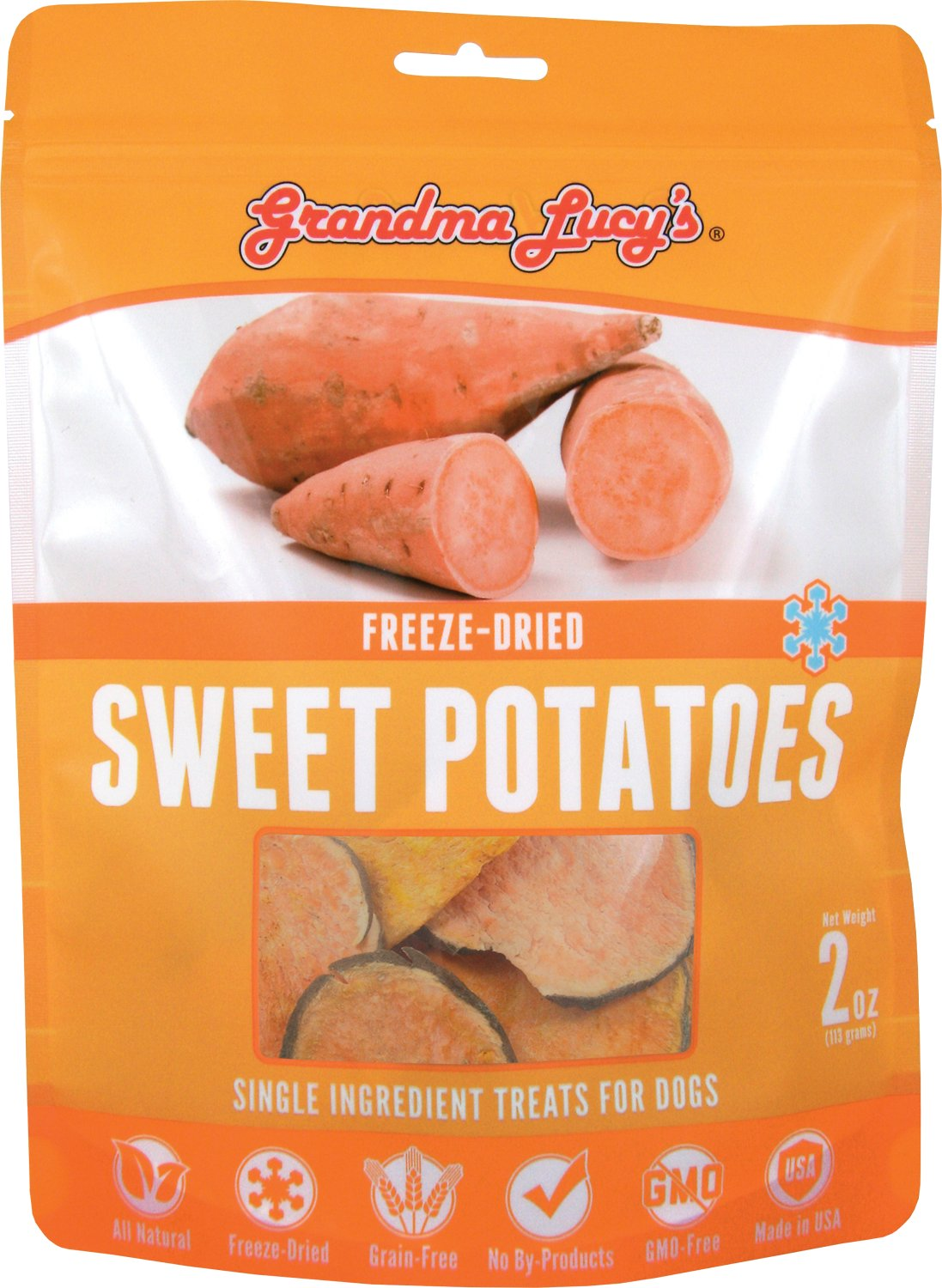 Grandma Lucy's Freeze-Dried Singles Sweet Potatoes Dog Treats, 2-oz bag
