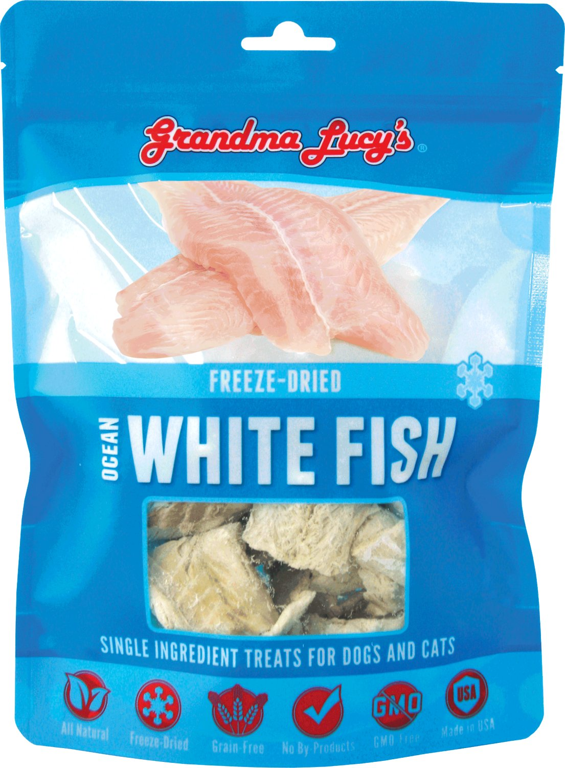 Grandma Lucy's Freeze-Dried Singles Ocean White Fish Dog & Cat Treats, 2-oz bag