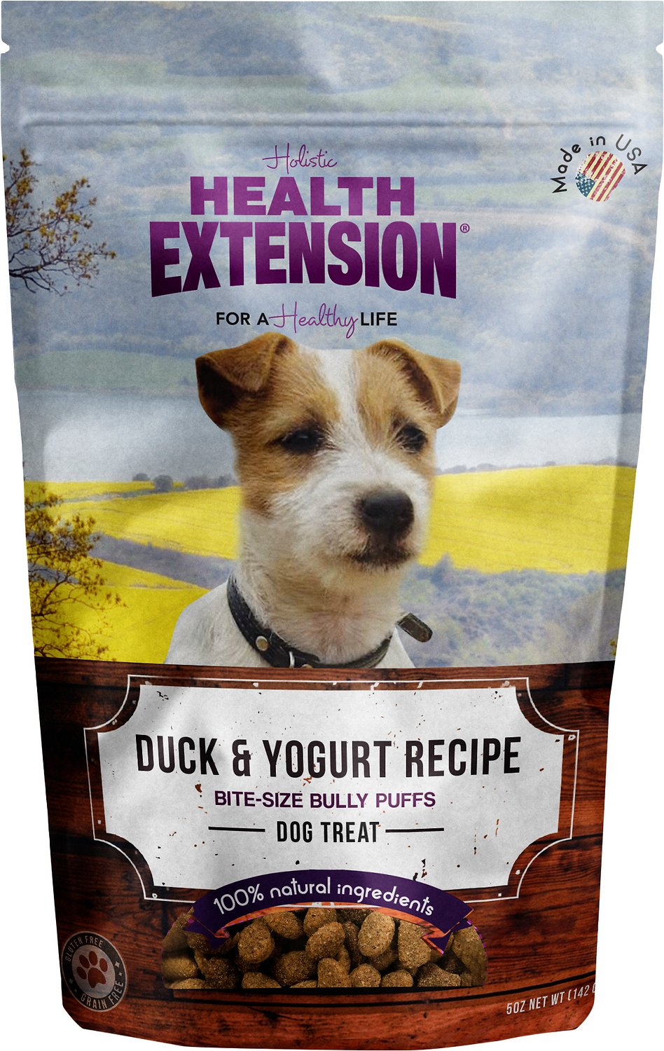 Health Extension Bully Puffs Duck & Yogurt Grain-Free Dog Treats, 5-oz bag