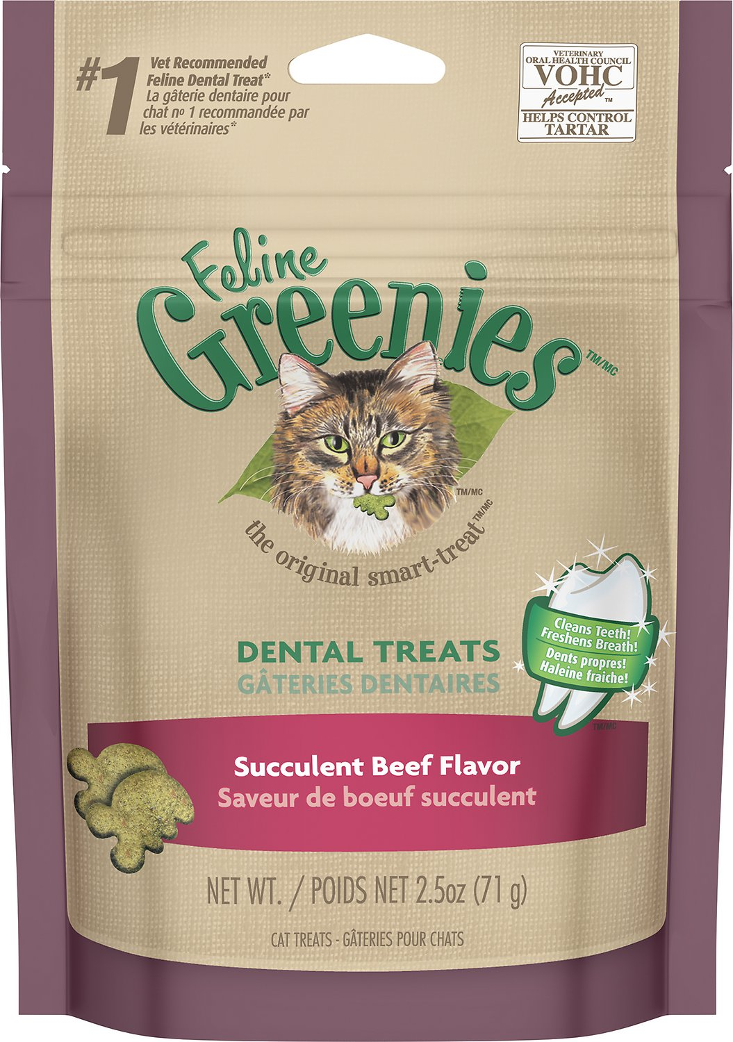 Feline Greenies Dental Treats Succulent Beef Flavor Cat Treats, 2.5-oz bag