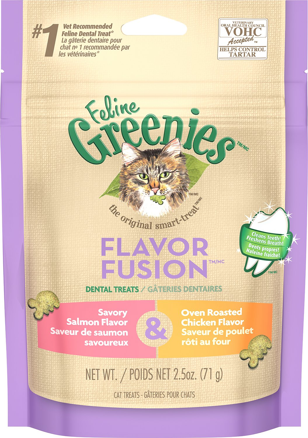 Feline Greenies Dental Treats Flavor Fusion Savory Salmon & Oven Roasted Chicken Flavor Cat Treats, 2.5-oz bag