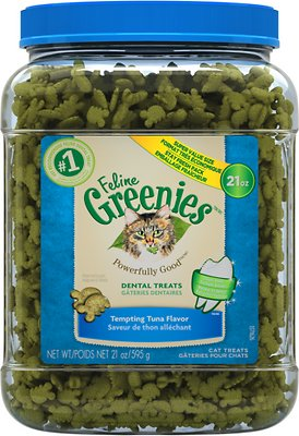 Feline Greenies Dental Treats Tempting Tuna Flavor Cat Treats, 21-oz jar