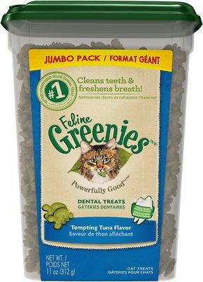 Feline Greenies Dental Treats Tempting Tuna Flavor Cat Treats, 11-oz tub