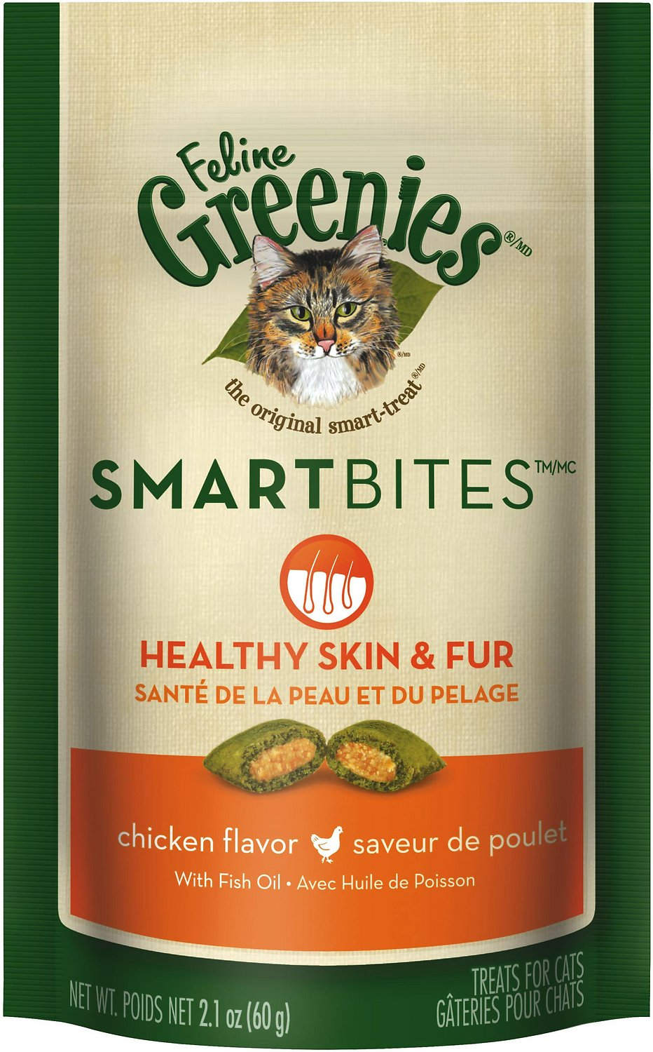 Feline Greenies SmartBites Healthy Skin & Fur Chicken Flavor Cat Treats, 2.1-oz bag