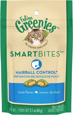 Feline Greenies SmartBites Hairball Control Tuna Flavor Cat Treats, 2.1-oz bag