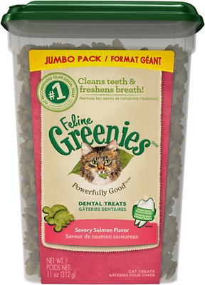 Feline Greenies Dental Treats Savory Salmon Flavor Cat Treats, 11-oz tub