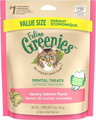 Feline Greenies Dental Treats Savory Salmon Flavor Cat Treats, 5.5-oz bag